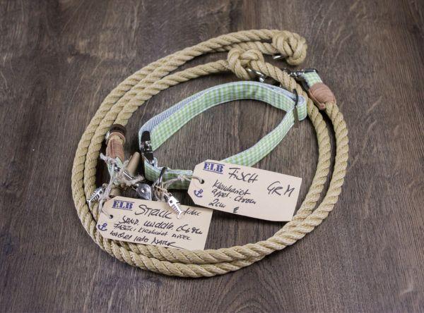 ELBband kleinkariert Set Appel (Hundeleine + Halsband)