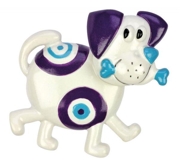 "Wackelkopfmagnet ""Hund"", lila-weiß"