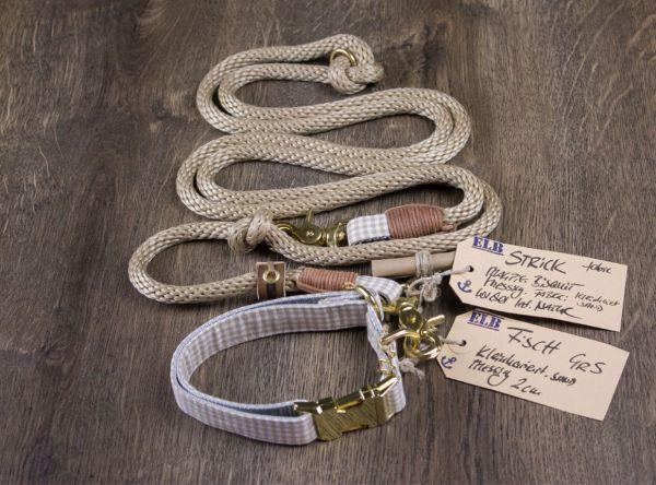 ELBband kleinkariert Set Sand (Hundeleine + Halsband)