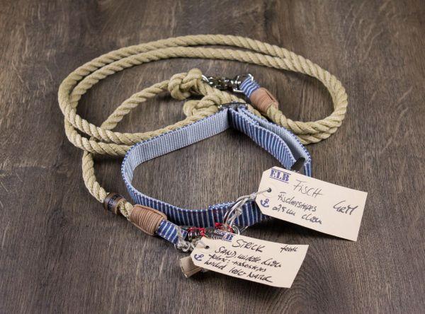 ELBband Fischerstripes Set (Hundleine + Halsband)