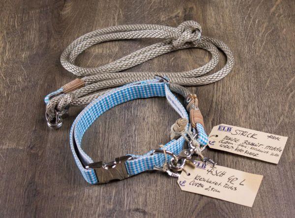 ELBband kleinkariert Set Türkis (Hundeleine + Halsband)
