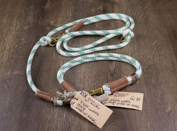 ELBband lebenslang grün-weiß Set (Hundeleine + Halsband)