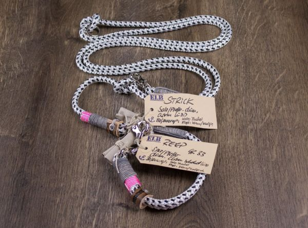 ELBband Salz und Pfeffer Set Pink (Hundeleine + Halsband)